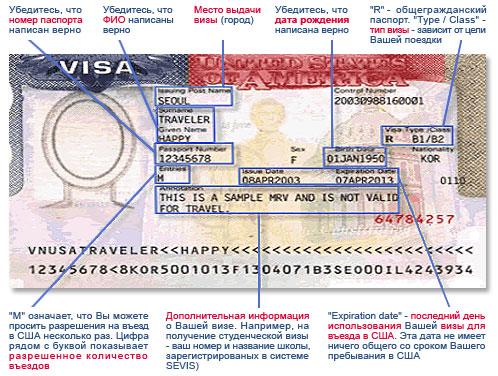 Содержимое визы